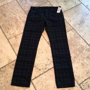 JBRAND KANE Plaid Jeans In Indigo Blue Size:34